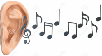 Picture of Ear with musical notes.